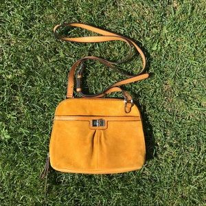 B Makowsky Yellow Leather Suede Crossbody Purse